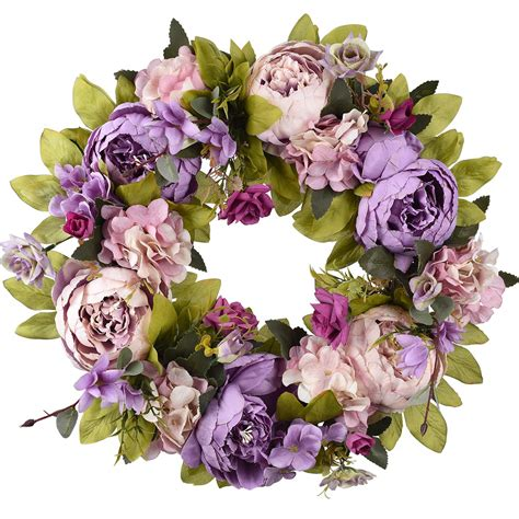 20 Artificial Peony  Berry Floral Silk Fake Flower Wreath.